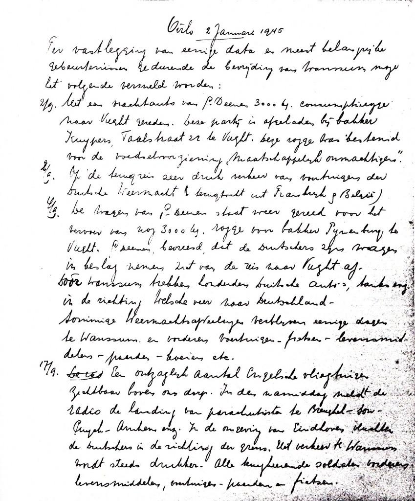 De eerste pagina van het oorlogsdagboek van Piet van Els