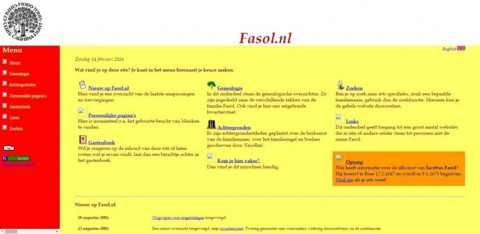 screenshot fasol.nl 2003