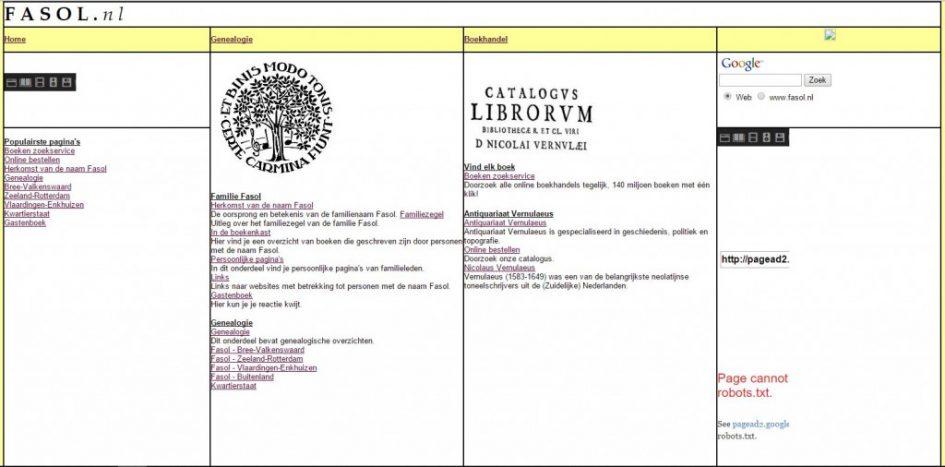 screenshot fasol.nl 2005