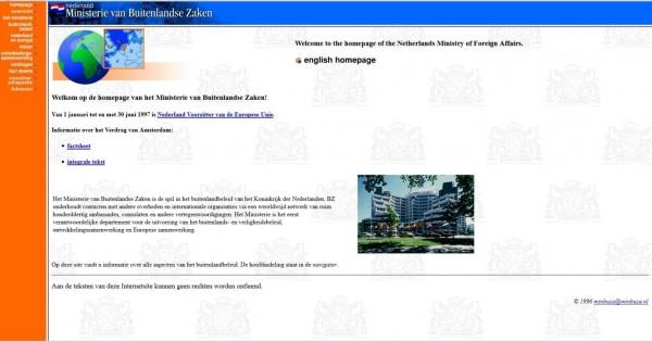 6 december 1996: De eerste website van het ministerie van Buitenlandse Zaken.