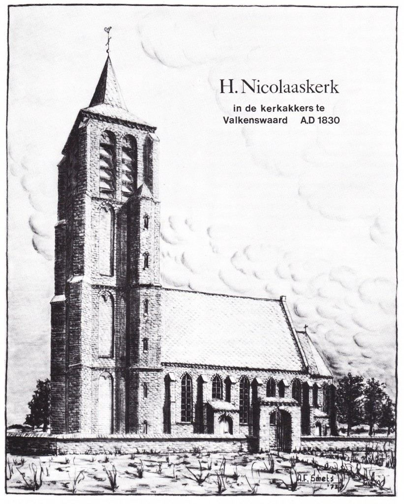"""Reconstructie van de voormalige parochiekerk van Valkenswaard in de Kerkakkers anno 1830 door A. Smets (uit: 'Van Wedert tot Valkenswaard', 1973). We vinden de 17-jarige Reynier Fasol uit Bree in Belgie"""" in 1800 in Valkenswaard, als hij, volgens de burgemeestersrekeningen, mee helpt om het dak van de kerktoren te herstellen. Dit is de -in 1860 na de bouw van een nieuwe kerk aan de Markt gesloopte- kerk in de Kerkakkers, in de weilanden tussen het Dorp en Geenhoven. Deze kerk werd gebouwd omstreeks 1500 in de bouwstijl van de Kempische gotiek. In 1800 was hij is zwaar vervallen staat. Sinds 1648 was de kerk in protestantse handen. In 1782 wendde de protestantse kerkgemeente zich tot de Raad van State om geld voor reparaties te vragen. Toen werd onder andere een nieuw uurwerk geplaatst. Maar het verval nam toch ernstiger vormen aan na de invallen van de Franse troepen en het niet erg rustige verlaten van de protestanten van de kerk in 1798. De kerk is dan zo bouwvallig dat het gemeentebestuur zegt """"dat er de nadeeligste gevolgen van de wagten zijn"""". Tijdens een zware storm op 7 november 1800 lijdt de toren veel schade en de stompe spits verliest zijn leien mantel. De jonge 'schaliëndekker' Reynier Fasol uit Bree helpt mee om 3000 nieuwe leien aan te brengen [Mélotte, p. 113-124]. Na een laatste reparatie in 1803 nemen de katholieken de kerk pas weer in gebruik. Er is ook een losse mededeling in de gemeentearchieven die luidt: """"In 1800, de 7e november waaiden er 3000 leien van de kerktoren. De leidekker Johannes Theodorus Schoofs (nie van hier) werkte 20 dagen aan de reparatie à 4 gulden 12 stuivers daags."""" [B1 -101]. Deze Schoofs is naar alle waarschijnlijkheid identiek met Johannes Mathijs Schoofs uit Bree (geb. 1773). Als Reynier bij de Schoofsen in de leer was, verklaart dat dat gemeld wordt dat Reynier aan het werk was, maar dat de afrekening plaats vond met Schoofs."""