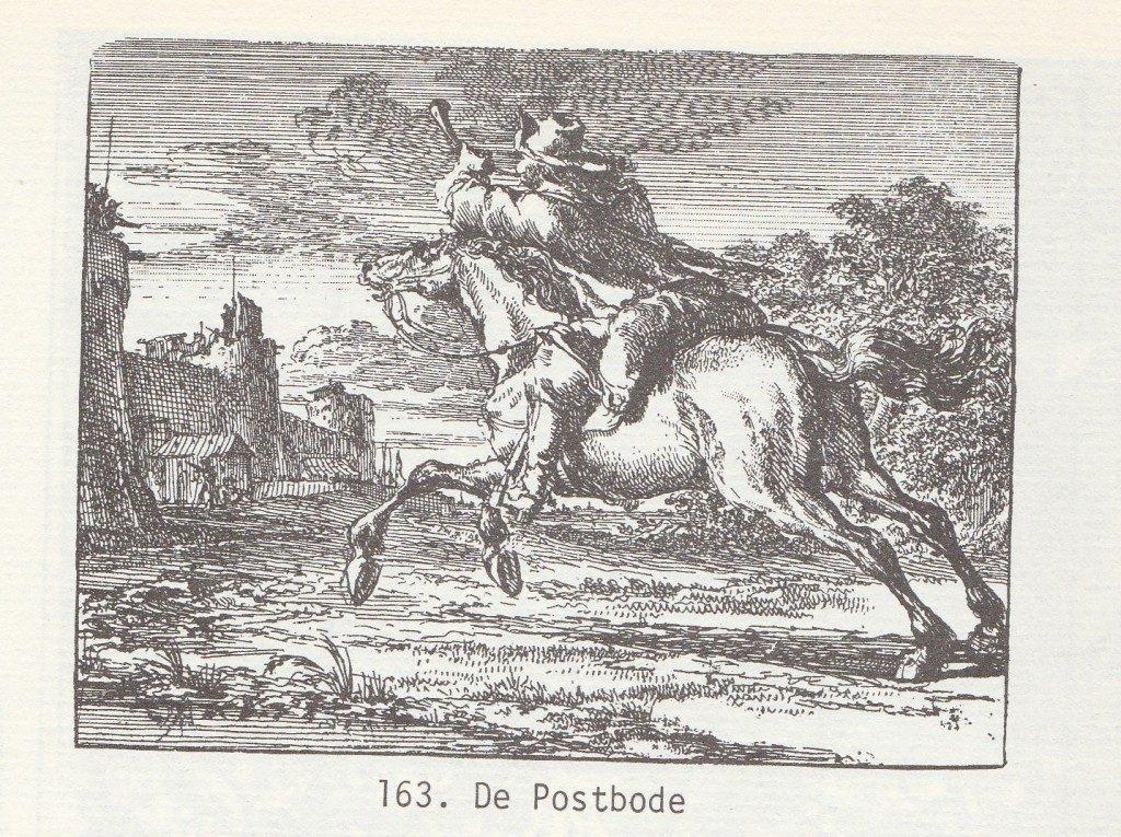 De postbode. Gravure 17e eeuw.