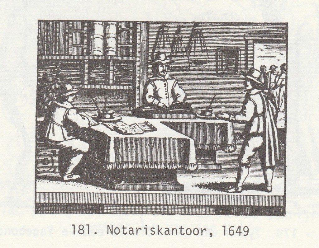 De notaris, 1649. Gravure.