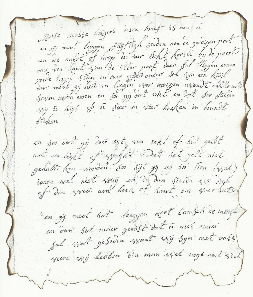 Brandbrief van Nolle Van Geleen uit 1786 aan Laurens Bogaers, zeer waarschijnlijk geschreven door de vrouw van Nolle, Barbara Baggen. Overgenomen van https://sites.google.com/site/vroomhistory/home/5-de-bokkenrijders