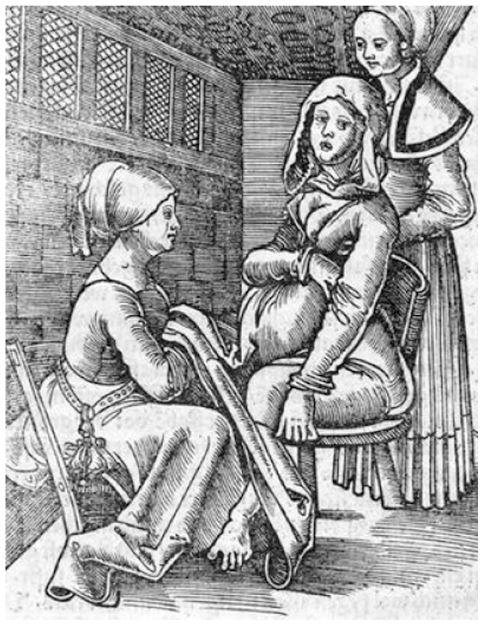Twee vroedvrou wen begeleiden een bevalling (Uit een 16e-eeuws boek van Eucharius Roeslin,1526) . In de 18de eeuw was de situatie nauwel ijks gewijzigd.