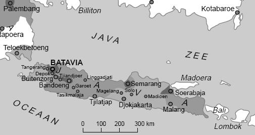 Harrie zit in stad Batavia, Jan op zo'n 100km afstand in het hoger gelegen Tjipannas (bij Tjianjoer denk ik, red.), bij de berg Poentjak.