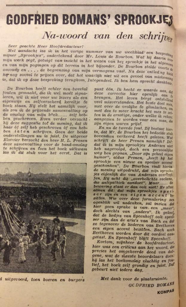 De ingezonden brief van Godfried Bomans in Het Kompas, 2 augustus 1947.