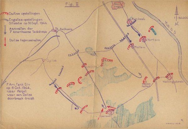 Aanvalskaart Amerikanen Slag bij Overloon (bron: Comité Shermantank Overloon)