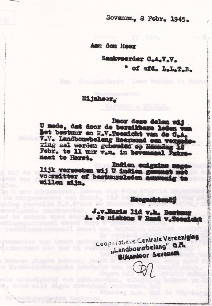 Brief aan C.A.V.V.