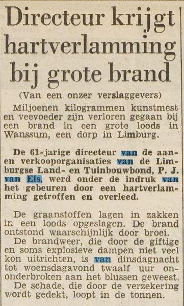 Krantenbericht overlijden Piet van Els