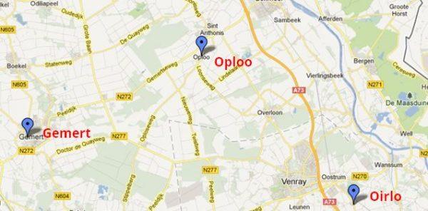 kaart Gemert, Oploo, Oirlo