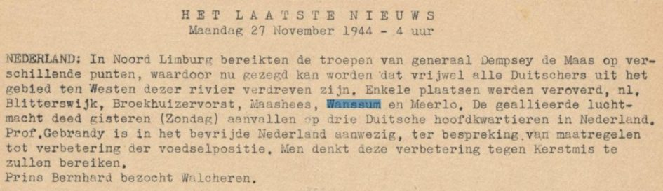 Nieuwsbericht 27 november 1944