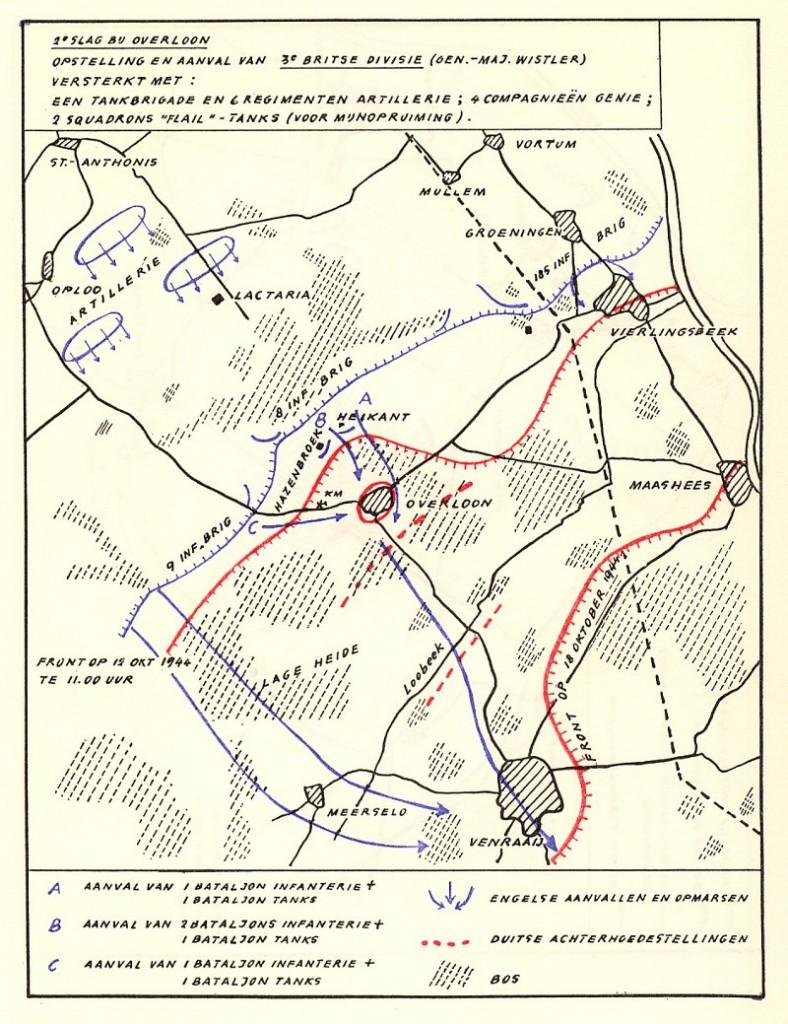 Aanvalskaart Britten Slag bij Overloon (bron: Comité Shermantank Overloon)