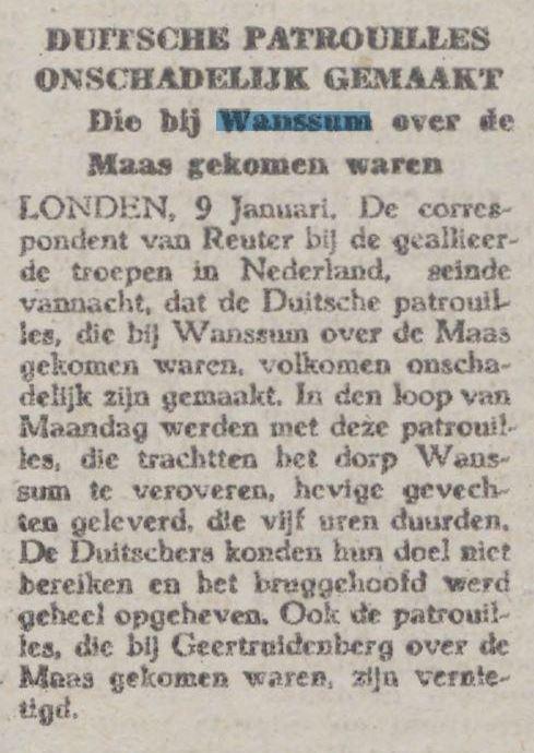 Krantenbericht Duitsche patrouilles onschadelijk gemaakt