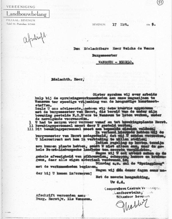 Brief aan Weichs de Wenne