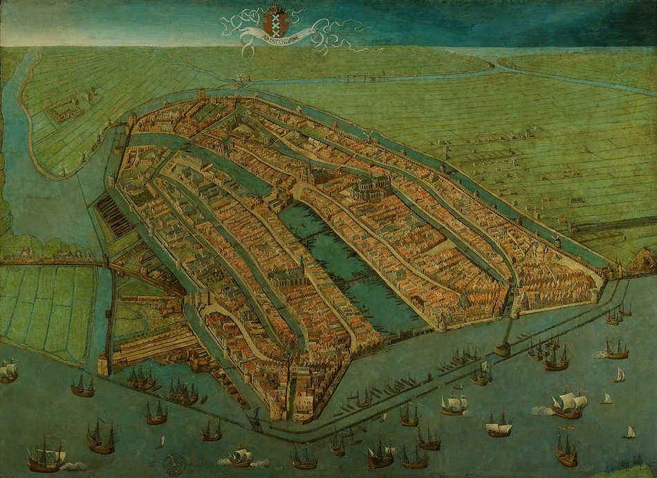 """""""Amsterdam in vogelvlucht"""" (1538). Schilderij van Cornelis Anthonisz van Oostsanen."""