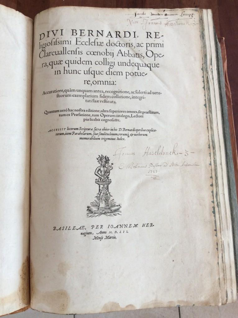 Titelpagina verzamelde werken Bernardus van Clairvaux, 1552.