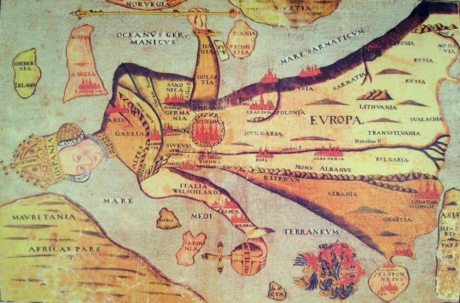 Kaart van Europa als koningin. (Comenius Museum Naarden; bron: Wikimedia Commons).