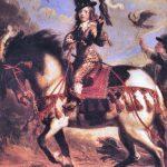 Koning Lodewijk XIV op valkenjacht.